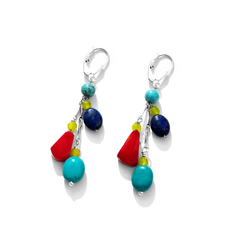 "Vibrant Mixed Color Semi Precious Sterling Silver ""Happy"" Earrings"