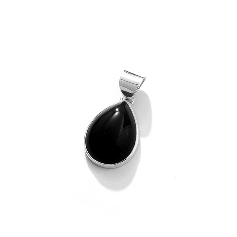 Smooth & Shiny Black Onyx Tear Drop Sterling Silver Pendant