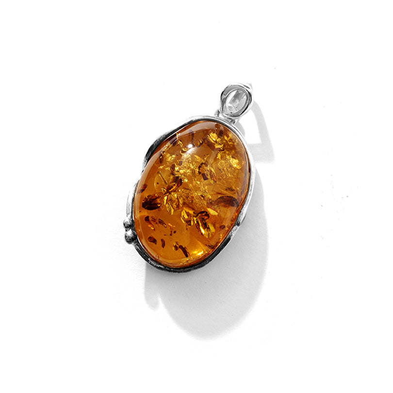 Golden Cognac Baltic Amber Sterling Silver Statement Pendant