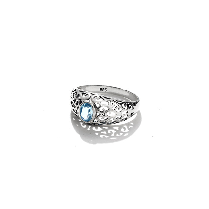 Lacey Balinese Blue Topaz Sterling Silver Ring