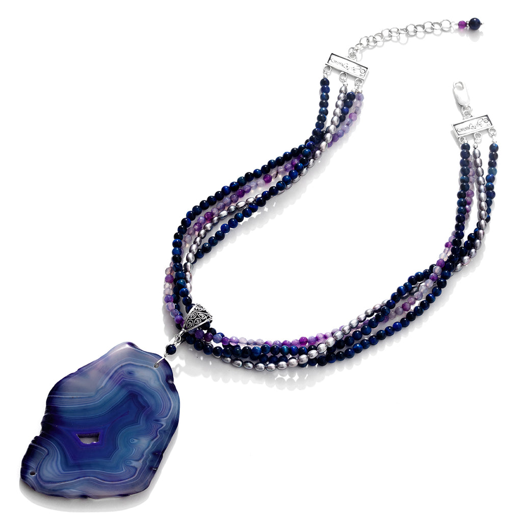 Gorgeous River Blue Agate Statement Necklace