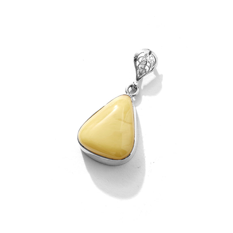 Darling Butterscotch Baltic Amber Sterling Silver Statement Pendant