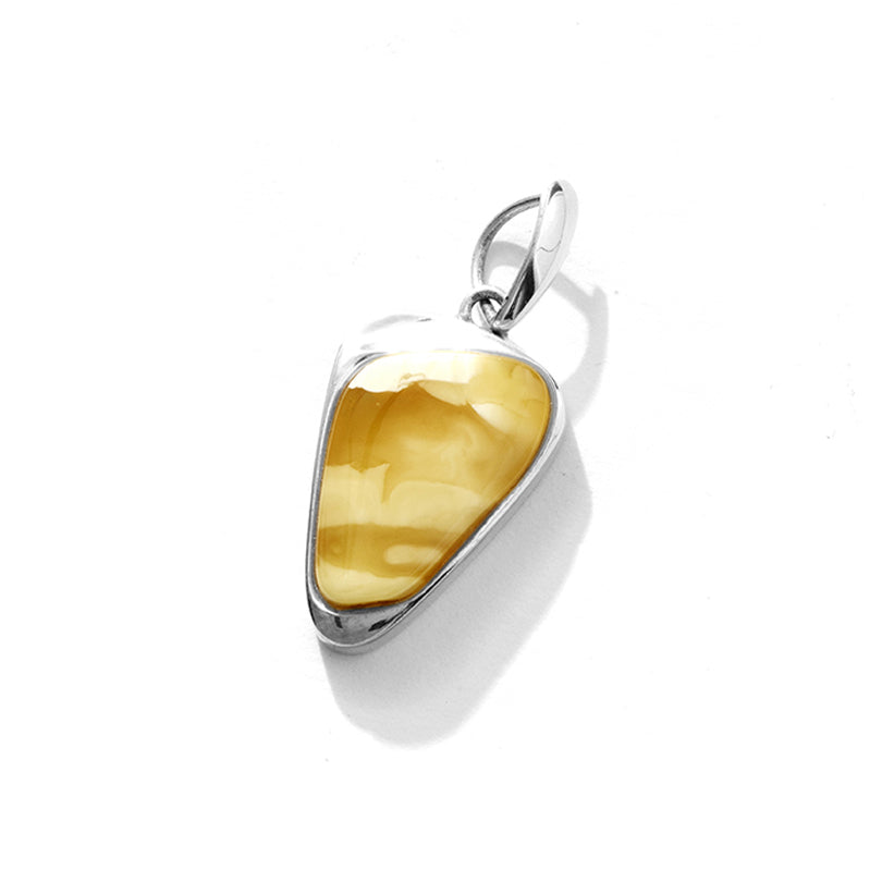 Magnificent Butterscotch White Baltic Amber Sterling Silver Statement Pendant