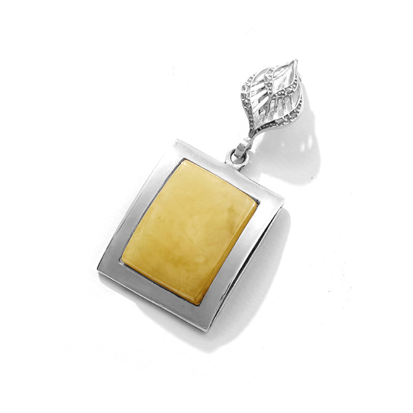 Stunning Butterscotch Baltic Amber Sterling Siler Statement Pendant