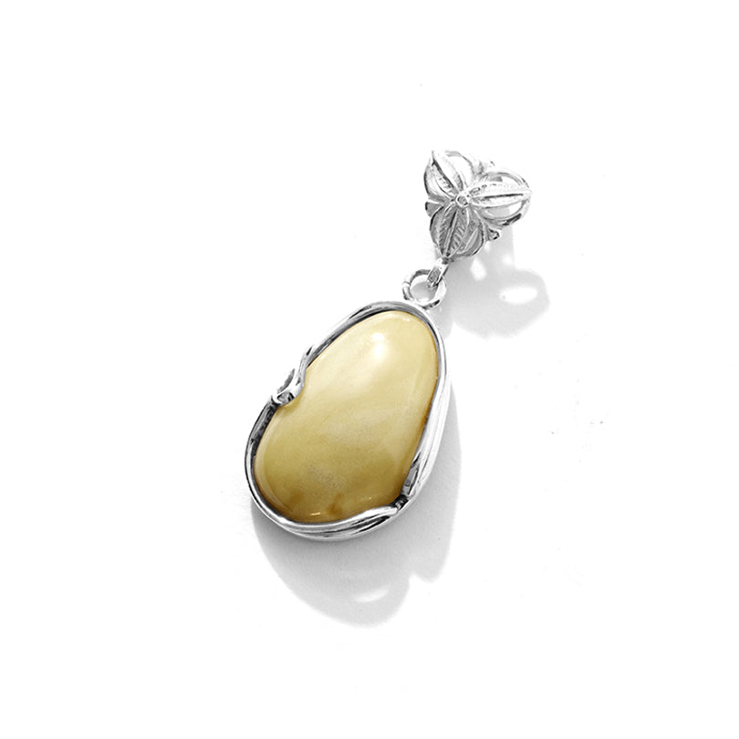 Beautiful Butterscotch Baltic Amber Sterling Silver Statement Pendant