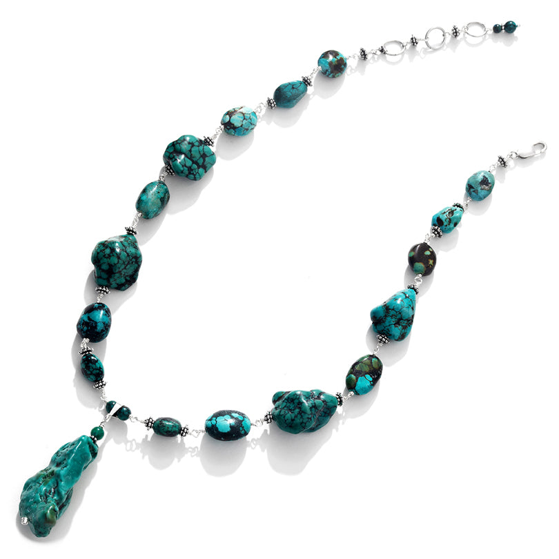 Gorgeous Earthy Turquoise Sterling Silver Statement Necklace