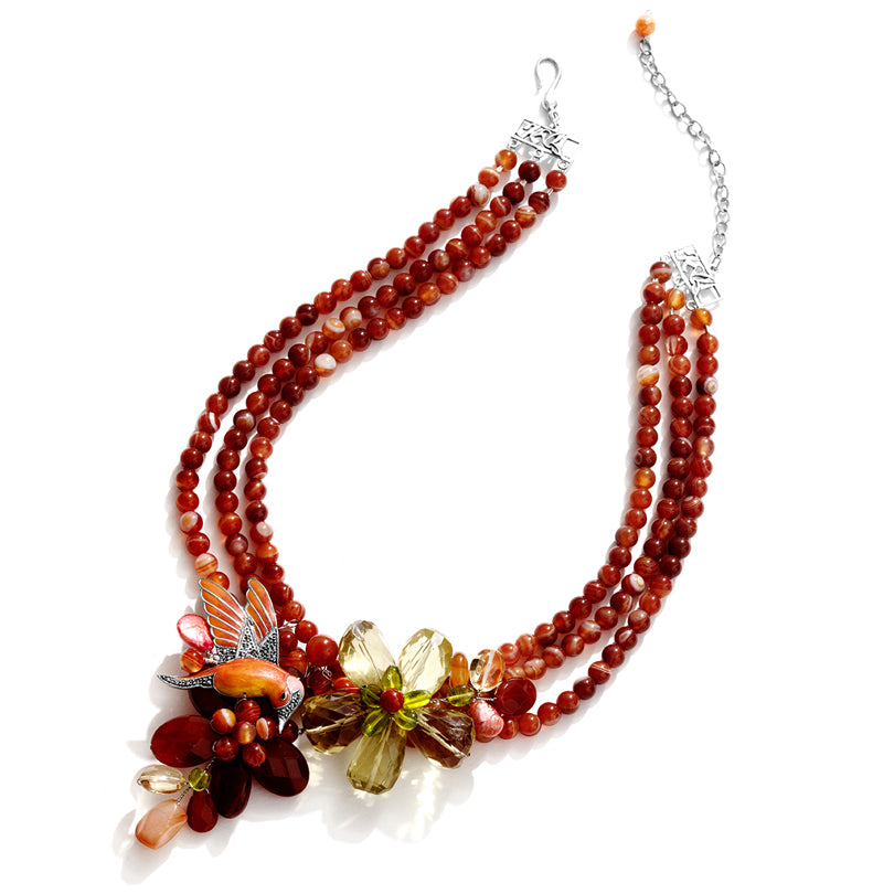Beyond Gorgeous! Humming Bird Carnelian & lemon Quartz Sterling Flower Statement Necklace