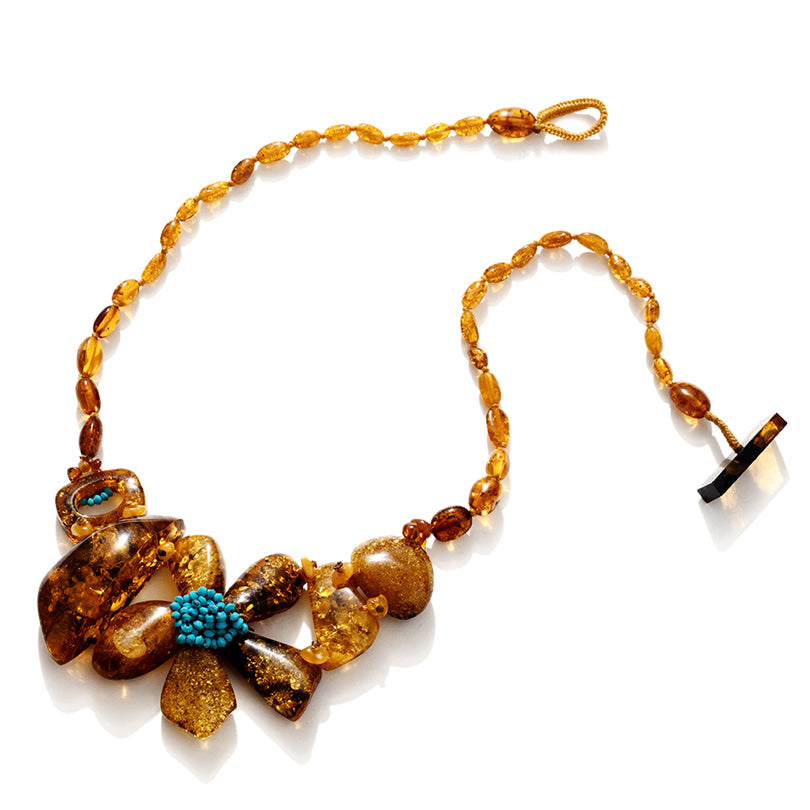 Golden Cognac Flower with Turquoise Center Statement Necklace