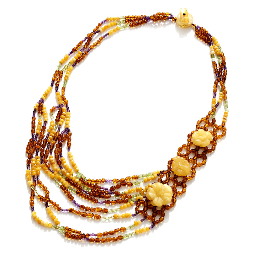 Gorgeous Polish Designer Elegant Flower Amber Statement Necklace