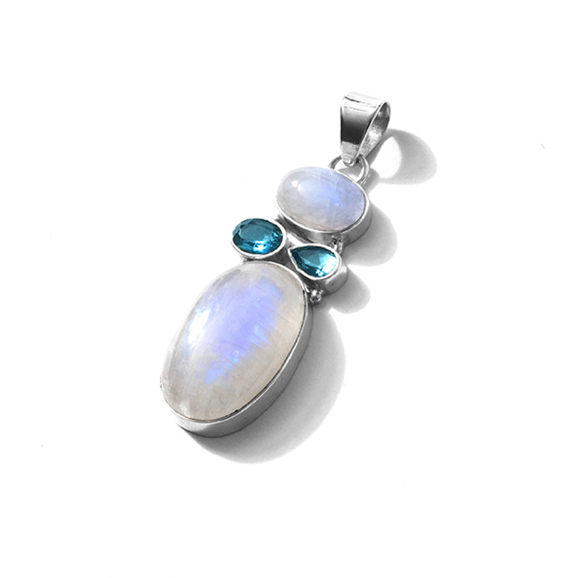 Shimmery Rainbow Moonstone with Blue Topaz Sterling Silver Statement Pendant