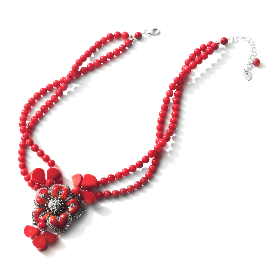 "Pretty Red Rose Coral Sterling Silver Flower Statement Necklace 16"" - 18"""