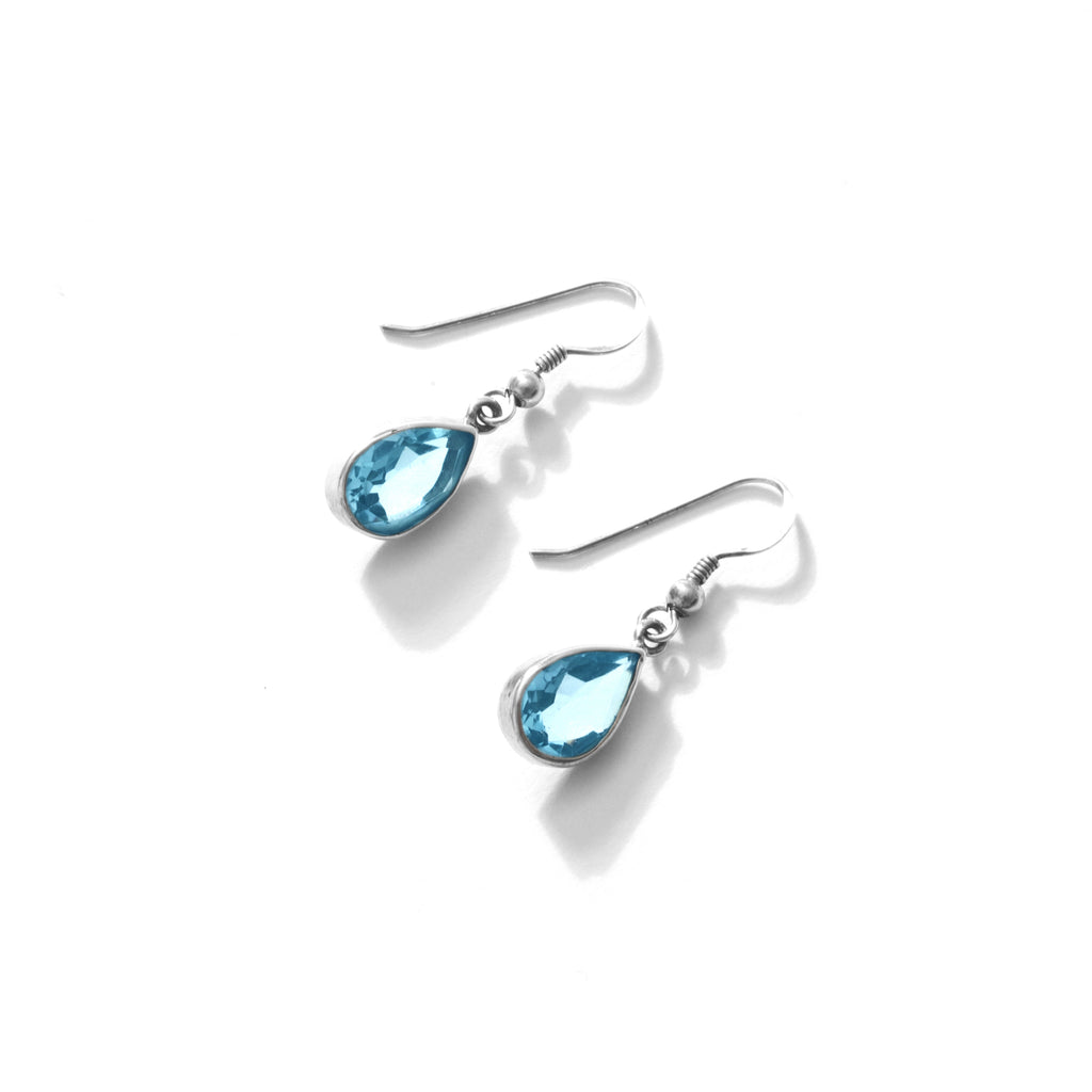 Clear Faceted Blue Topaz Pear Shape Sterling Silver Earrings