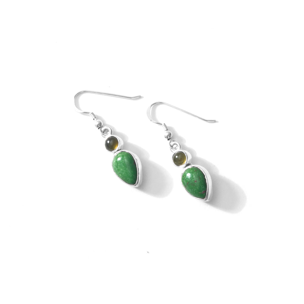 Petite Turquoise and Idocrase Sterling Silver Earrings