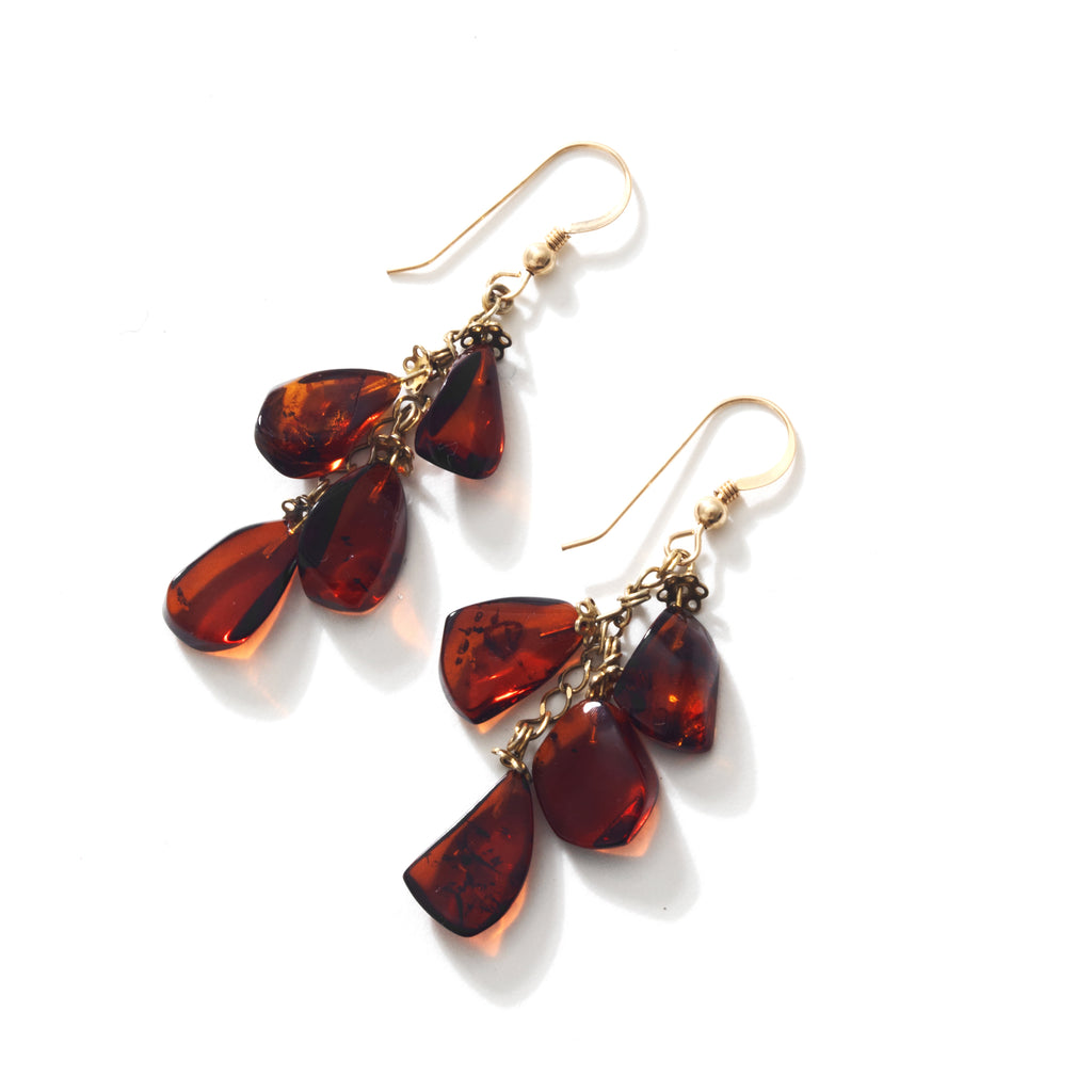 Designer Dark Cognac Baltic Amber Gold Plated Earrings