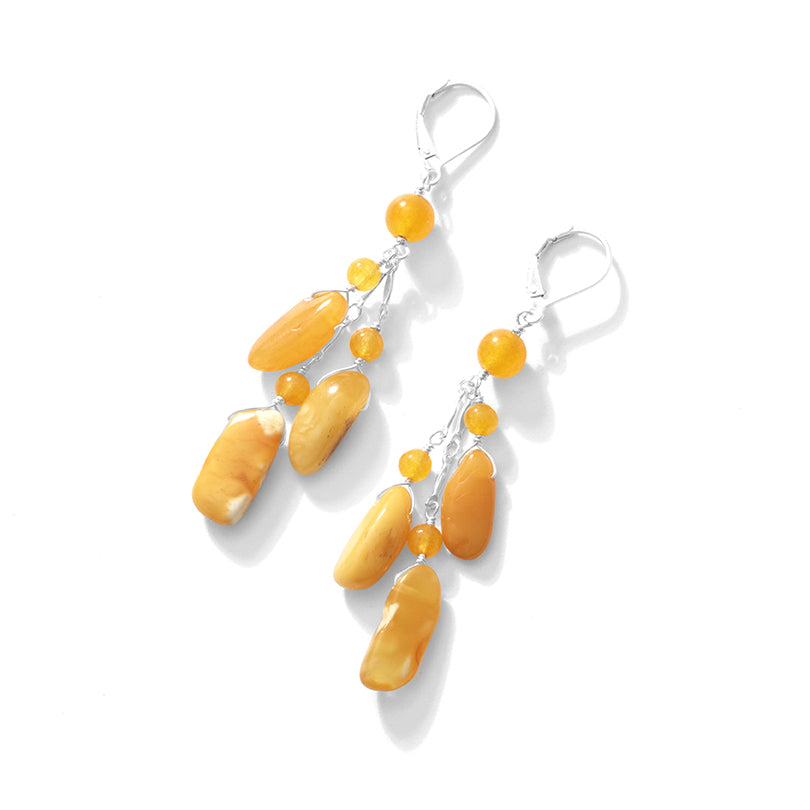 Lovely Butterscotch Baltic Amber Sterling Silver Dangle Earrings