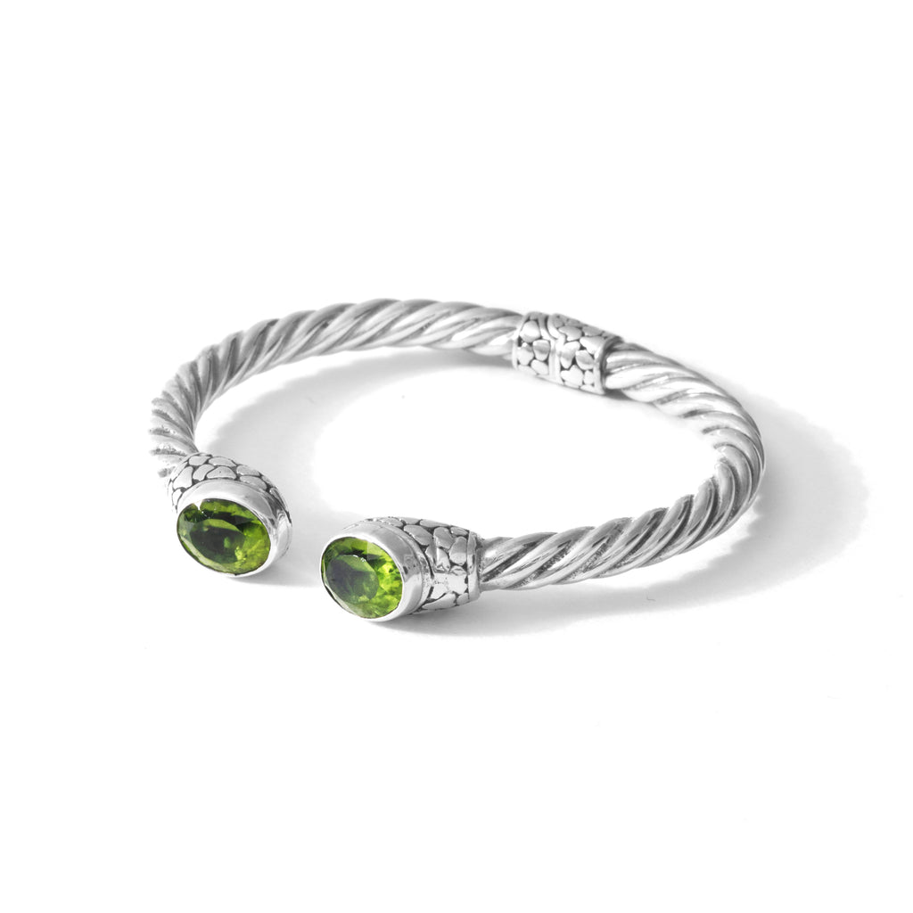 Stunning Ribbed Design Peridot Statement Sterling Silver Cuff/Bangle