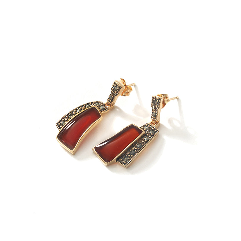 Beautiful Warm Carnelian with 14kt Gold Plated Marcasite Statement Earrings