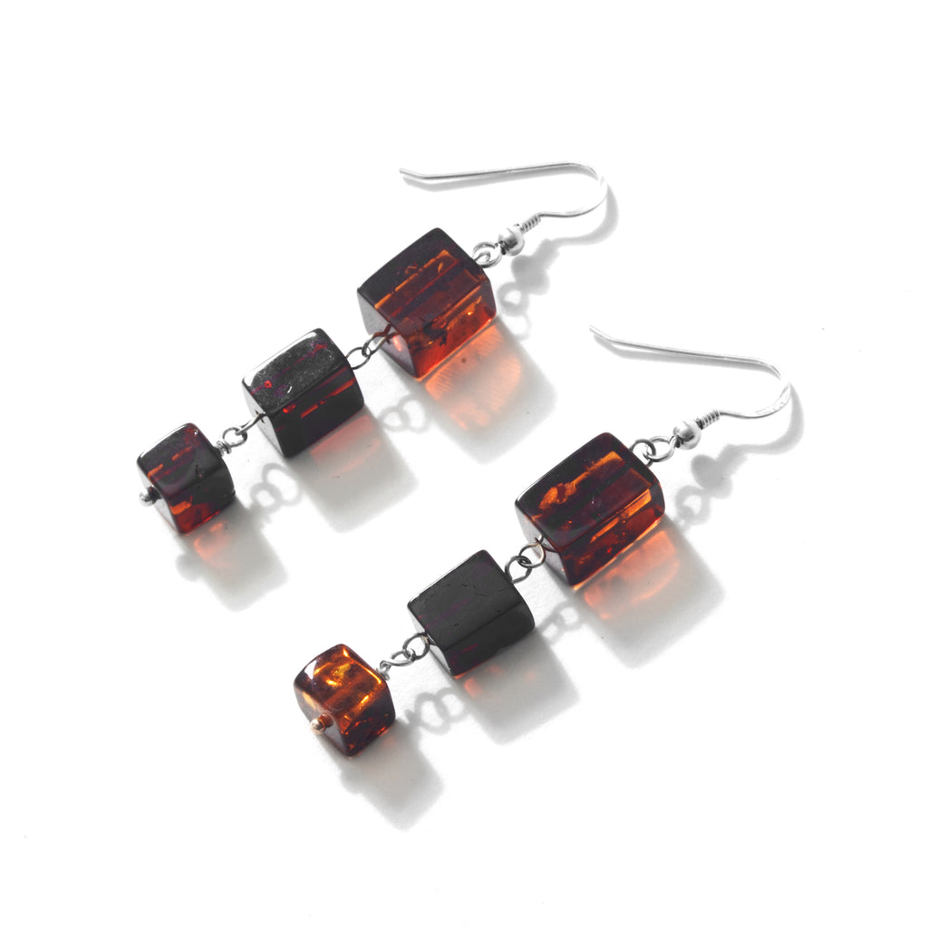 Sleek Cognac Baltic Amber Sterling Silver Earrings