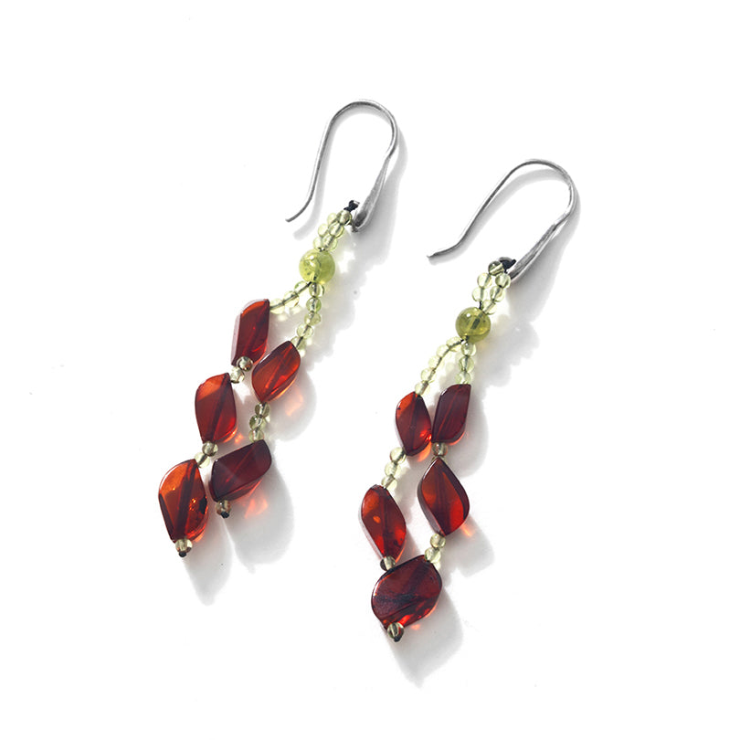 Designer Cognac Baltic Amber with Peridot Sterling Silver Statement Earrings