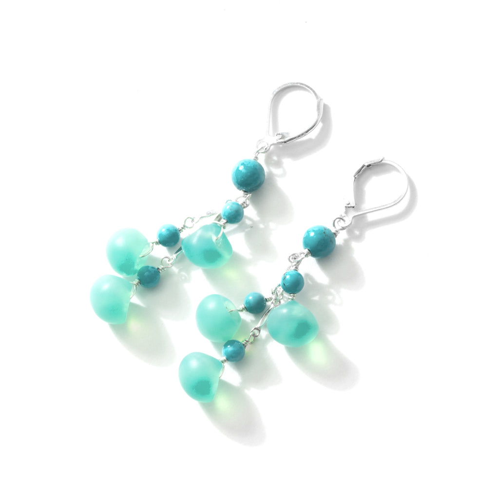 Gorgeous Teal and Turquoise Sterling Silver Earrings