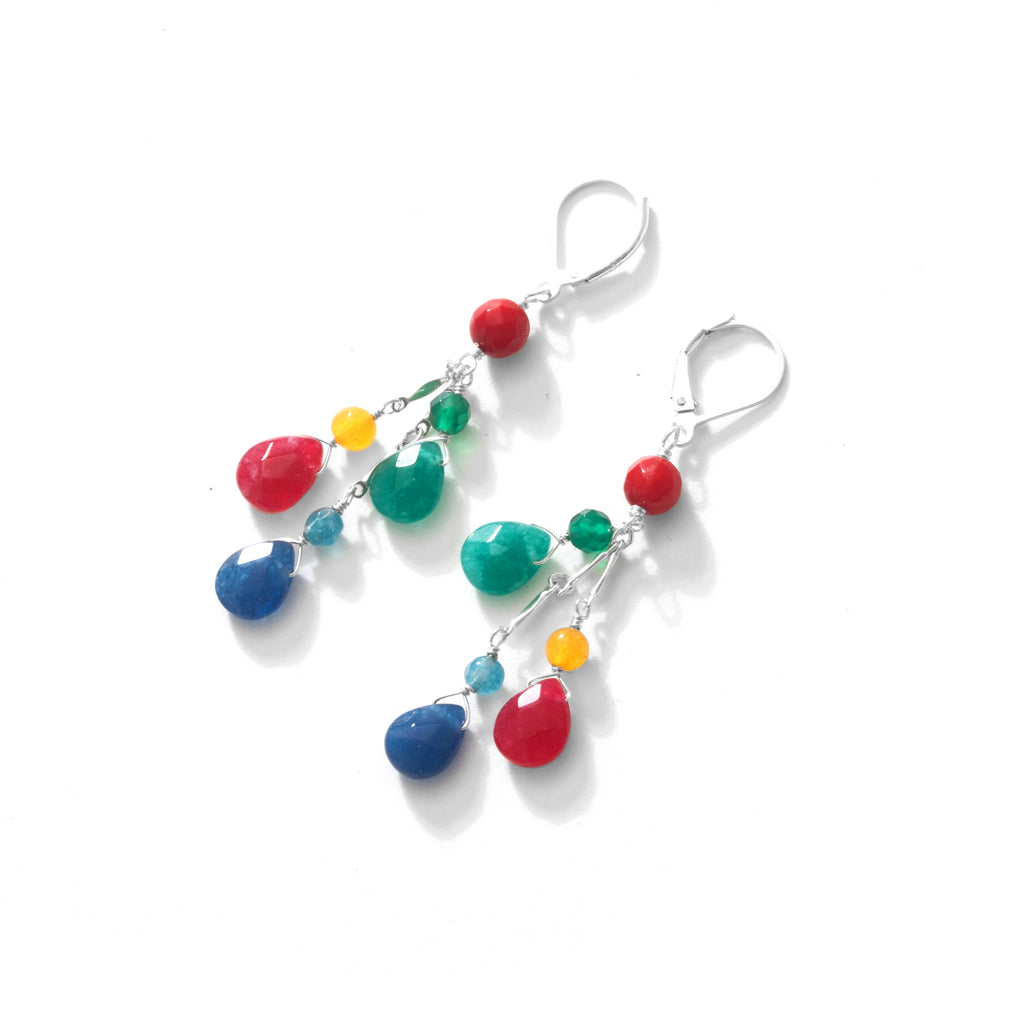 Rainbow Stones with Coral Sterling Silver Earrings