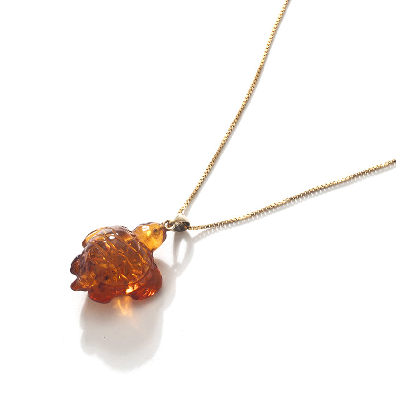 Adorable Carved Cognac Amber Turtle on Gold Plated Silver Necklace