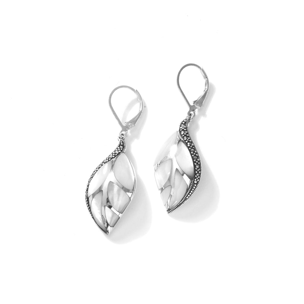 Shimmering Mother of Peal Mosaic Design Leaf Sterling Silver Earrings