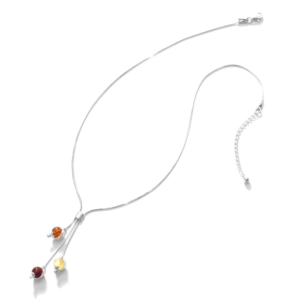 "Petite Tri-Color Amber Ball Drops  Shiny Sterling Silver Necklace 16"" - 18"""
