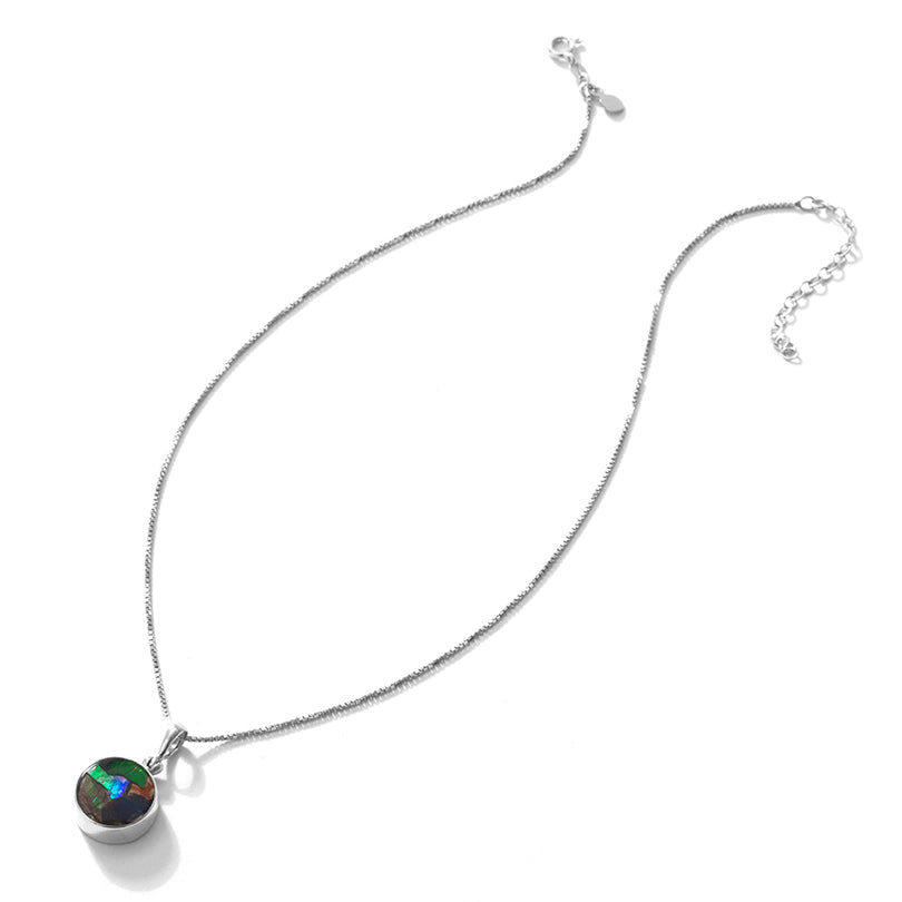 Starborn Fiery Petite Ammolite Sterling Silver Statement Necklace