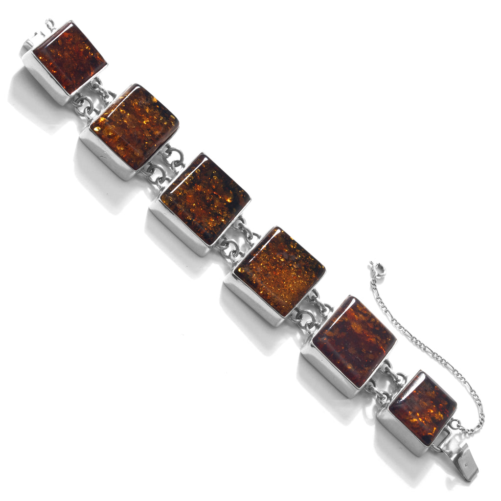 Mighty Large Cognac Baltic Amber Stones Sterling Silver Statement Bracelet