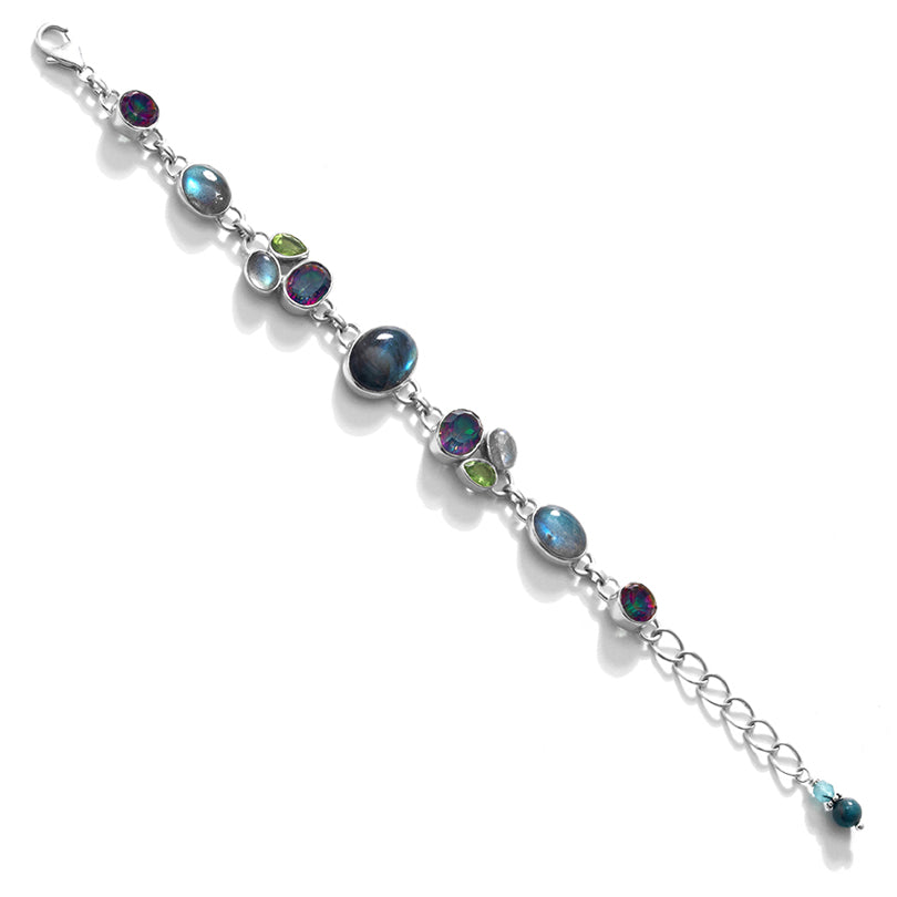 Shimmering Stones of Labradorite, Mystic Quartz and Peridot Sterling Silver Statement Bracelet