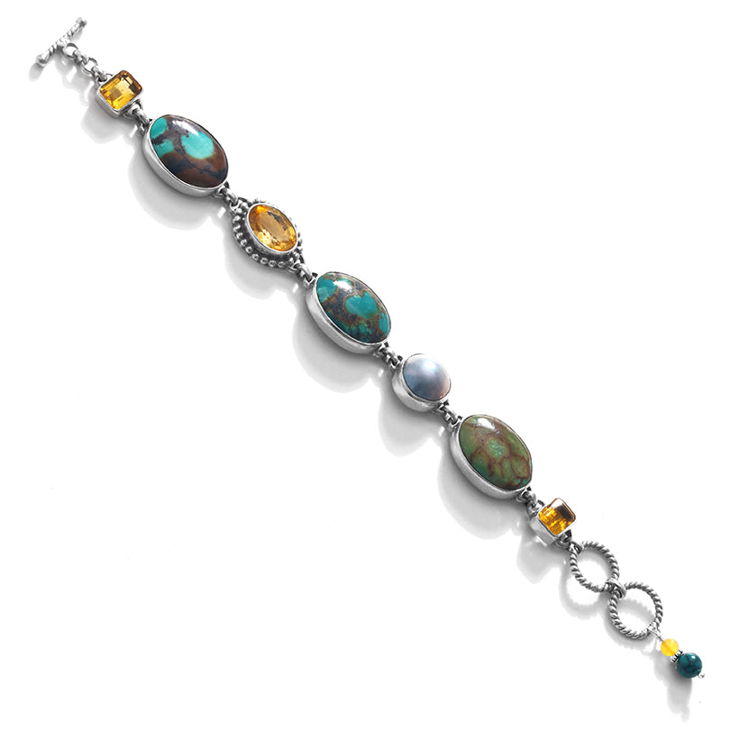 Gorgeous Turquoise, Citrine and Mabe Pearl Sterling Silver Statement Bracelet