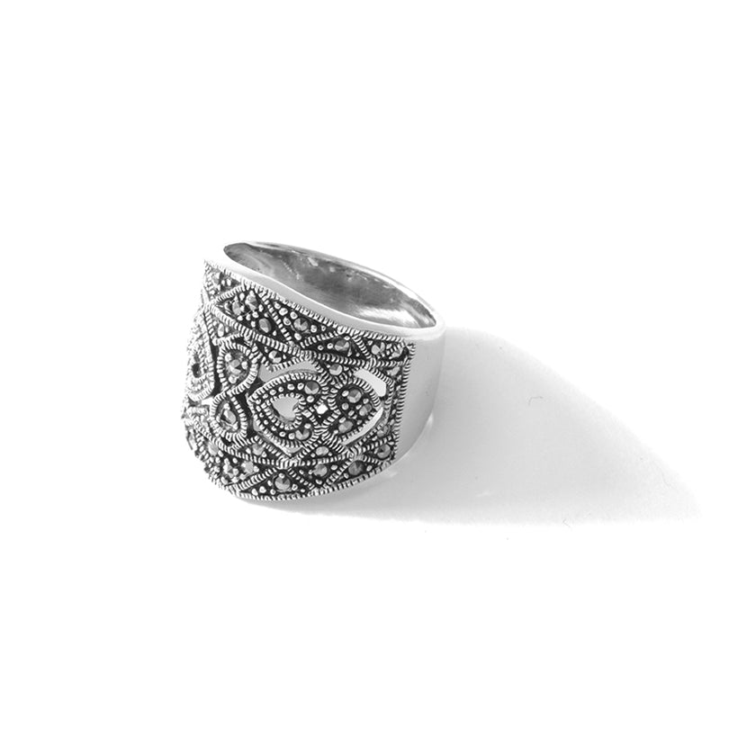 Gorgeous Wide Band of Marcasite Sterling Silver Statement Ring sizes up to 10.5