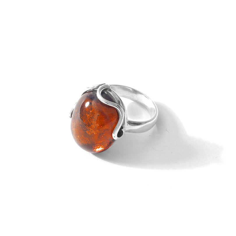 Cognac Baltic Amber Sterling Silver Ring - Size 7.5