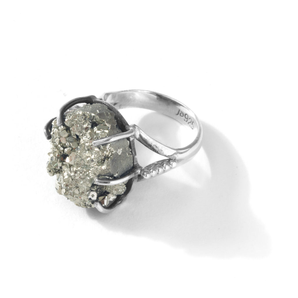 Sparkling Pyrite Sterling Silver Ring - Size: 8