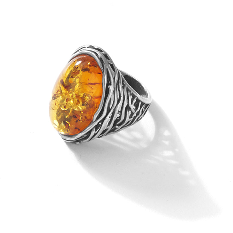 Twisted Vine Design Cognac Baltic Amber Sterling Silver Statement Ring - Size: 8