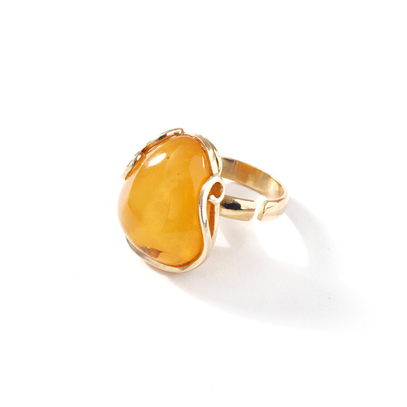 Gorgeous Butterscotch Baltic Amber Gold Plated Ring - Size 9