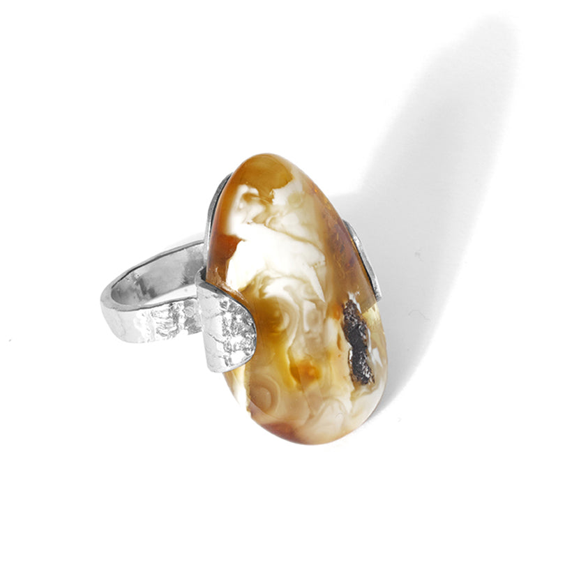 Magnificent Butterscotch Baltic Amber Sterling Silver Statement  Ring - adjustable