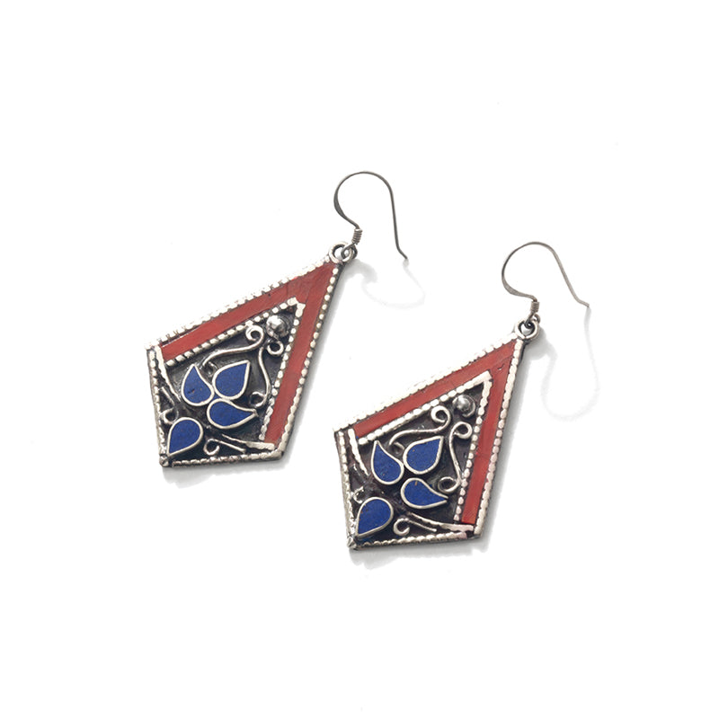 Himalayan Coral and Lapis Double Silver Plated Earrings