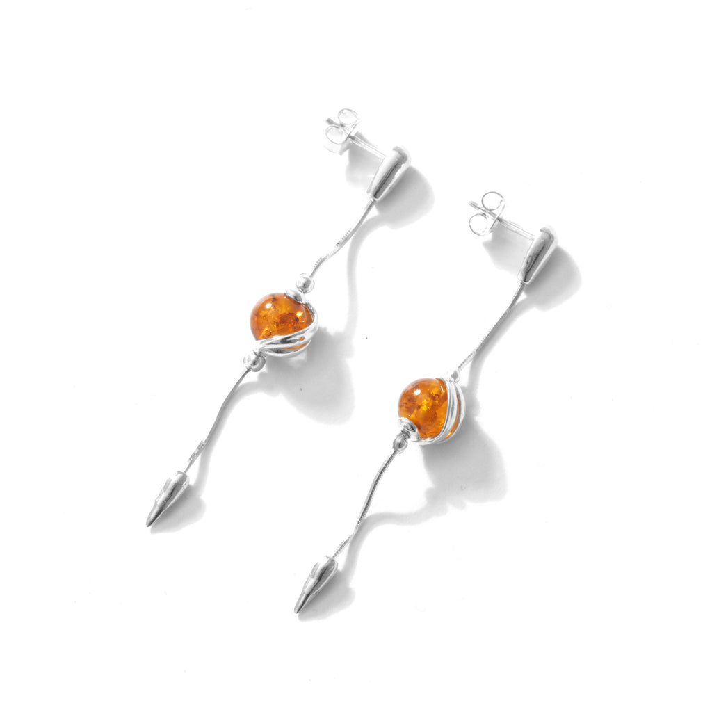 Adorable Cognac Baltic Amber Balls Sterling Silver Earrings