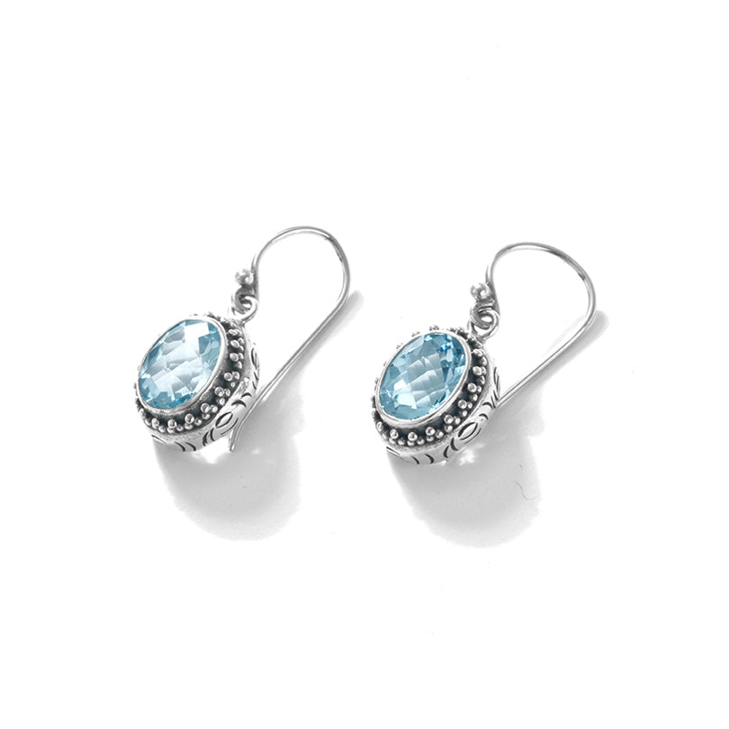 Shimmering Diamond Cut Blue Topaz Balinese Sterling Silver Statement Earrings