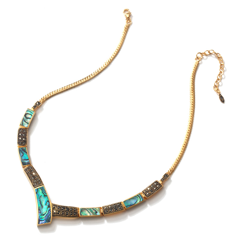 Vibrant Abalone and Sparkling Gold Plated Marcasite Statement Necklace