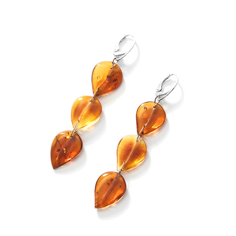 Gorgeous Translucent Honey Amber Amber Sterling Silver Statement Earrings