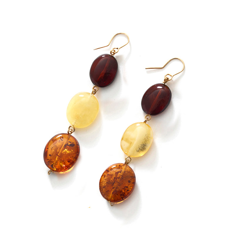 Polish Designer Luxurious Baltic Amber Gold Filled or .925 Silver Statement Earrings