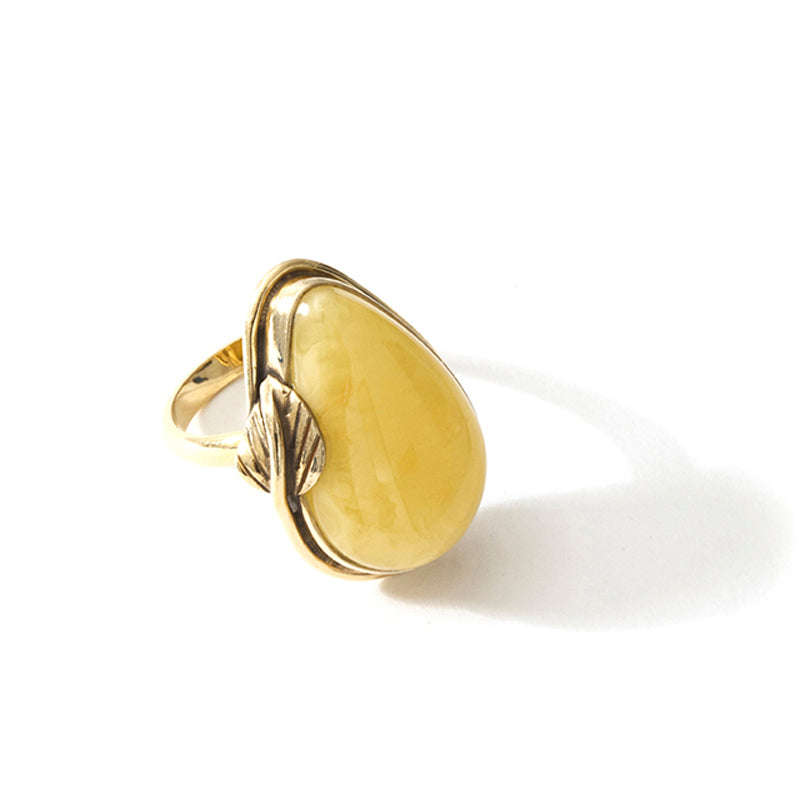 Beautiful Butterscotch Baltic Amber Gold Plated Silver Leaf Statement Ring
