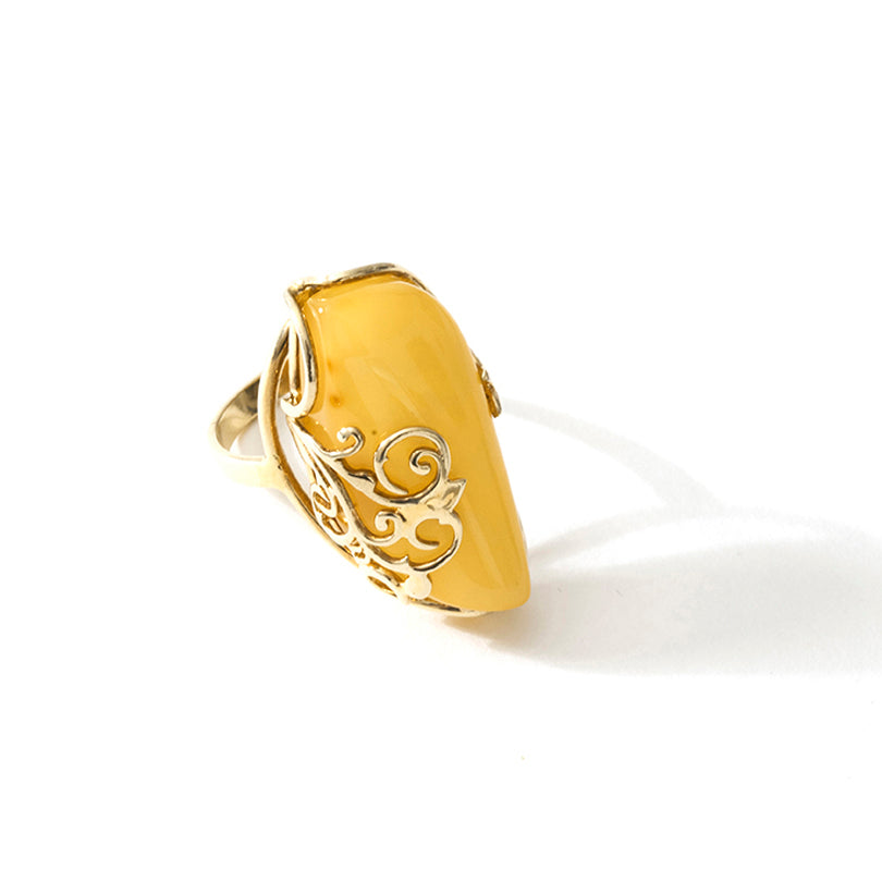 Beautiful Butterscotch Baltic Amber Gold Plated Sterling Silver Statement Ring