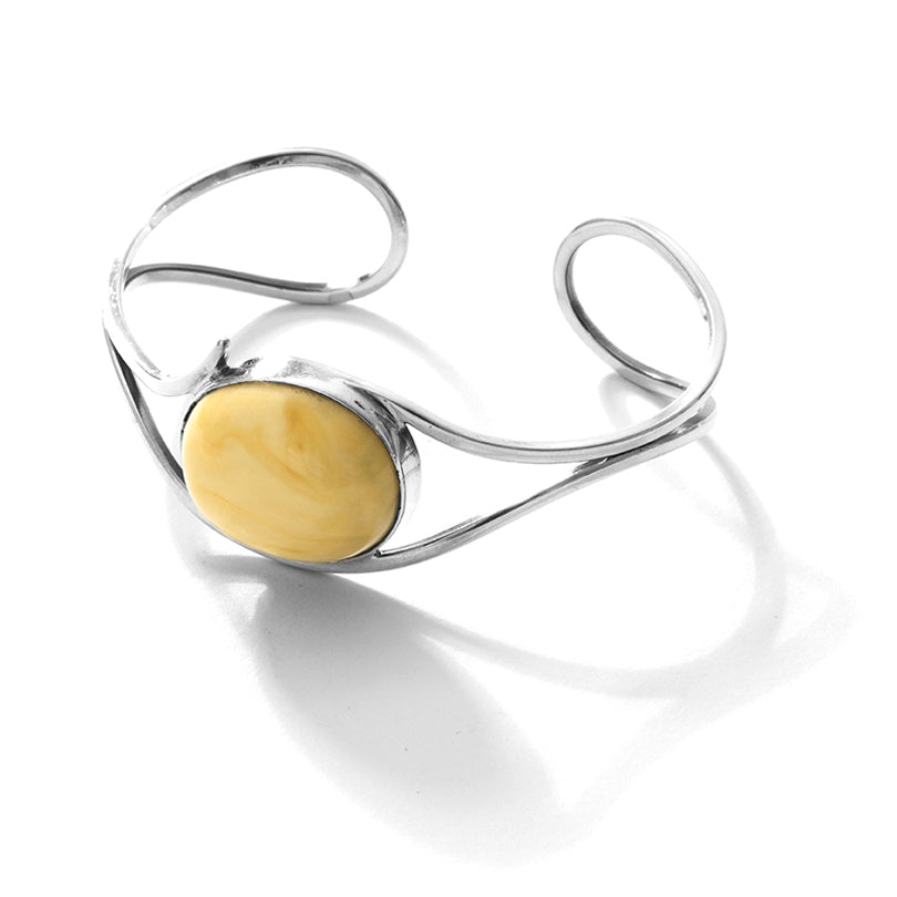 Polish Butterscotch Baltic Amber Sterling Silver Cuff