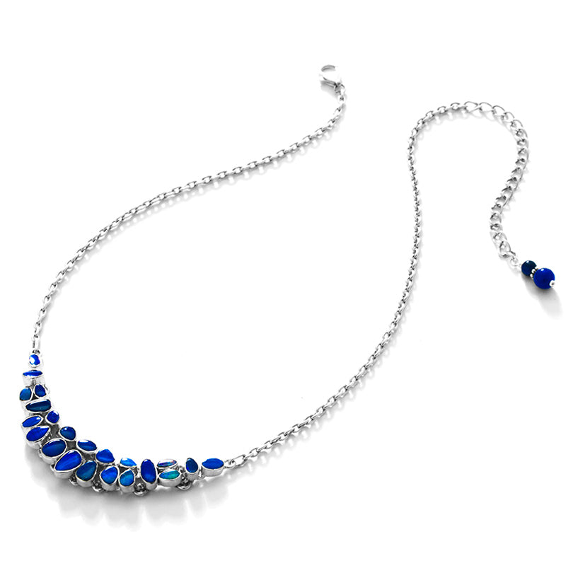 Gorgeous Petite Blue Opal Sterling Silver Statement Necklace