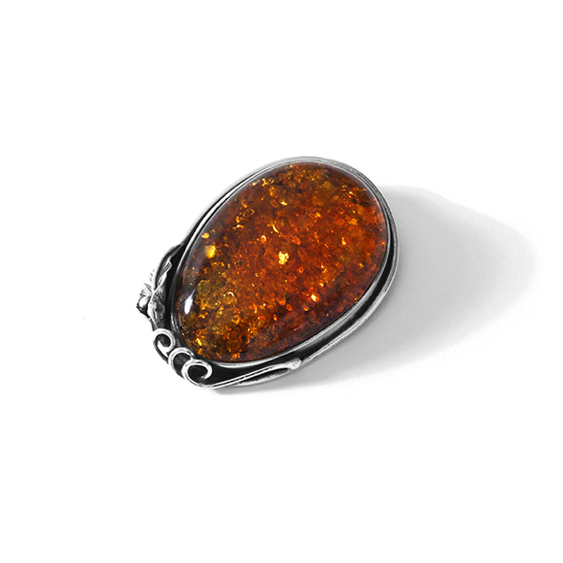 Traditional Polish Cognac Baltic Amber Sterling Silver Leaf Brooch