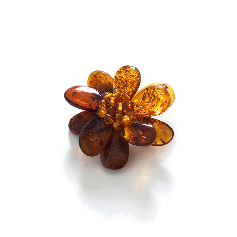 Beautiful Polish Designer Cognac Baltic Amber Flower Brooch